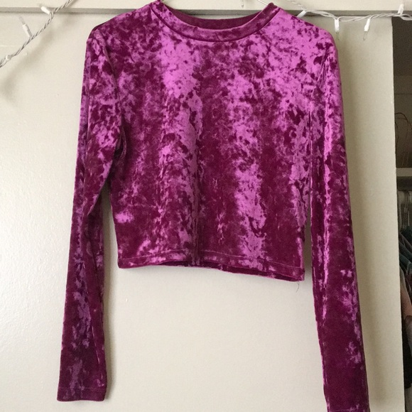 2a396d8d04f Divided Tops | Hm Fuschia Velvet Crop Top | Poshmark